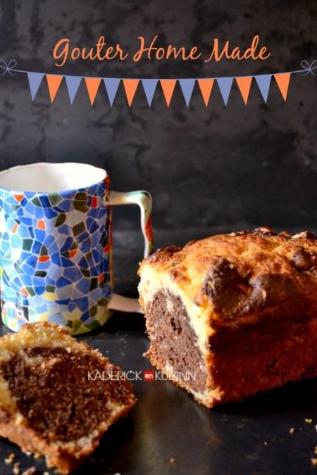 Gateau yaourt - Recette du marbré chocolat noir, vanille et noix