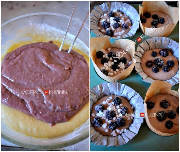 Recette muffins - muffins à la crème pâtissière frangipane, amandes, framboises et mûres