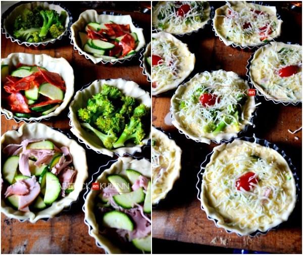 Mini quiche - Recette express quiche aux légumes bio et chorizo