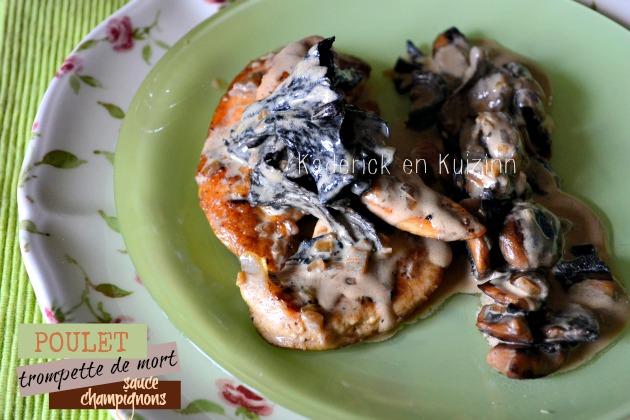 Recette poulet - aiguillettes poulet aux trompettes de mort, sauce de champignon à l'estragon