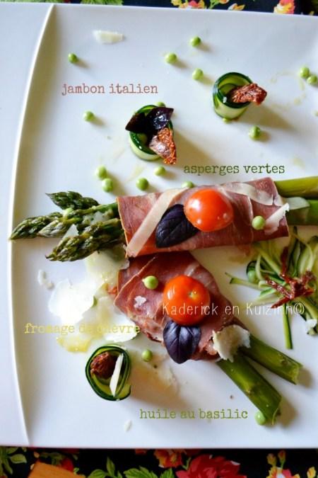 Recette asperges bio - Asperges vertes bio roulées au jambon italien et fromage de chèvre