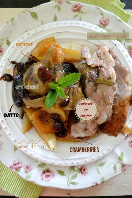 Agneau confit - Recette sucrée-salée d'épaule d'agneau cuite à la rôtissoire pour Pâques
