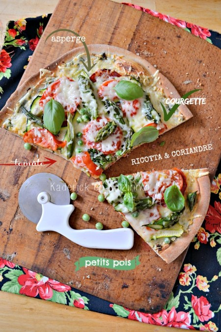 Recette pizza - Pizza végétarienne printanière aux légumes bio ricotta et coriandre