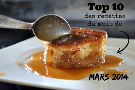 Mars 2014 - Top des recettes du mois de mars