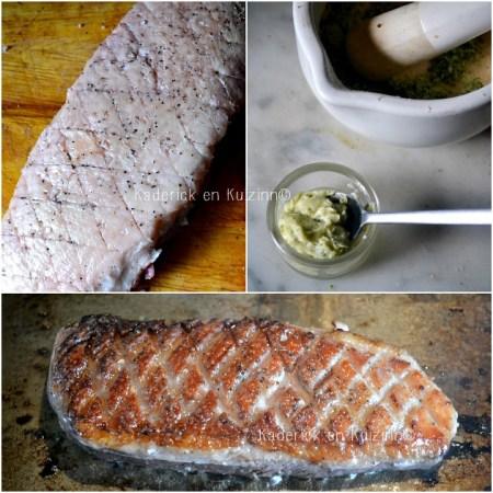 Plancha magret de canard grillé à la plancha et beurre d'herbes aromatiques