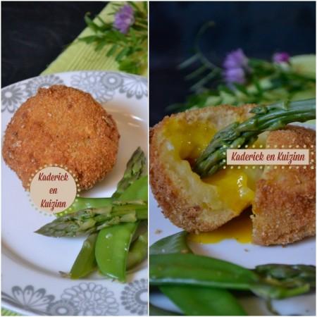 Recette cromesquis de pomme de terre au jaune d'œuf coulant et légumes verts bio