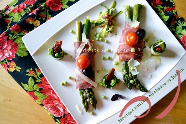 Recette asperges bio - Asperges roulées au jambon italien et fromage