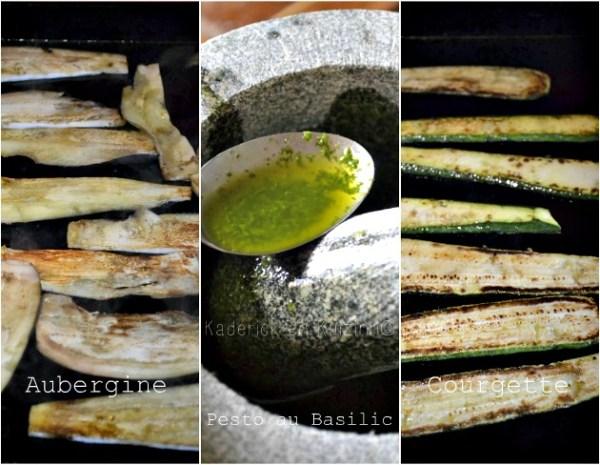 Cuisson légumes grillés en tranches aubergine, courgette et pesto basilic