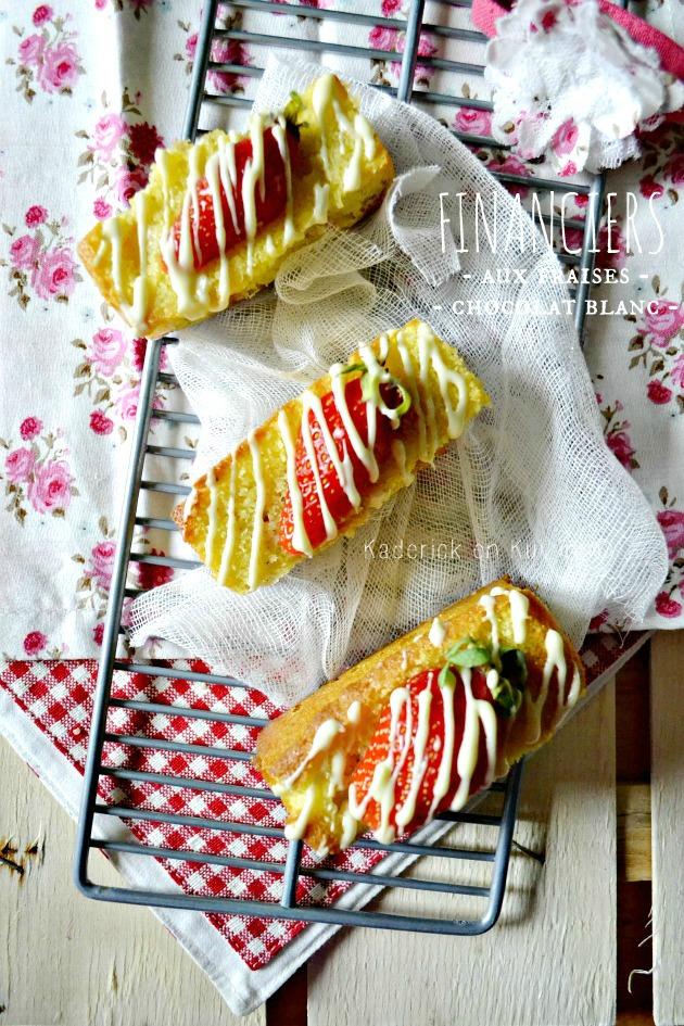 recette financier aux fraises bio zébrées pour Culino Versions