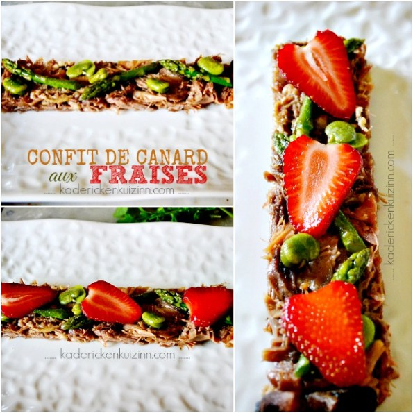 Salade fraise - Salade sucré-salé tiède au confit de canard et fraises