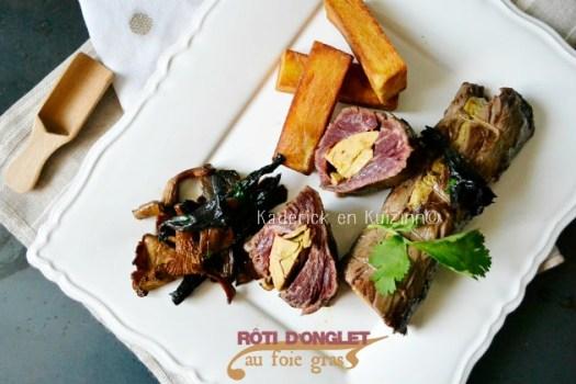 Plancha onglet - Rôti d'onglet farci de foie gras mi-cuit à la plancha