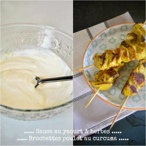 Plancha poulet - Brochettes poulet curcuma et sauce yaourt herbes