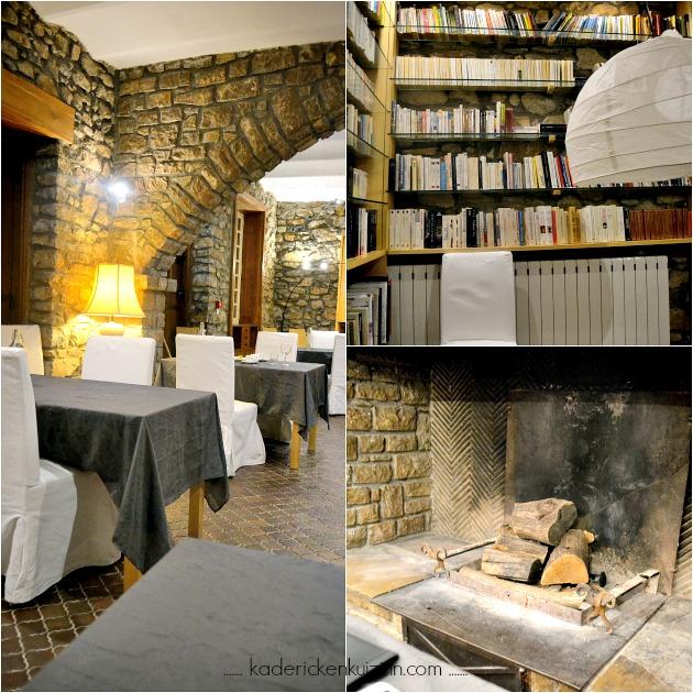 Restaurant Mas de Luzieres bibliotheque cheminee