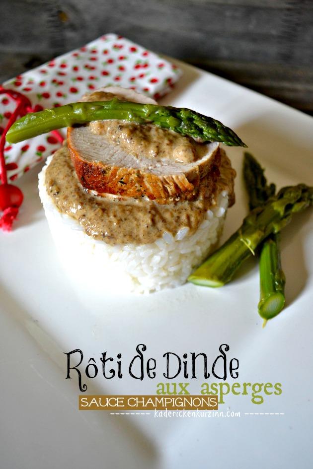Recette dinde - Roti en cocotte aux asperges et sauce champignon