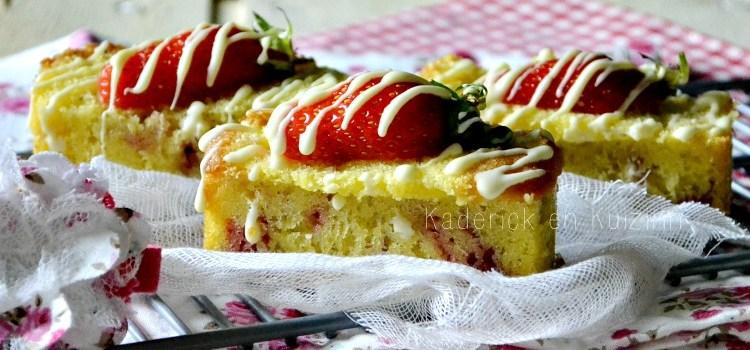 recette financier aux fraises bio zébrées de chocolat blanc Culino Versions