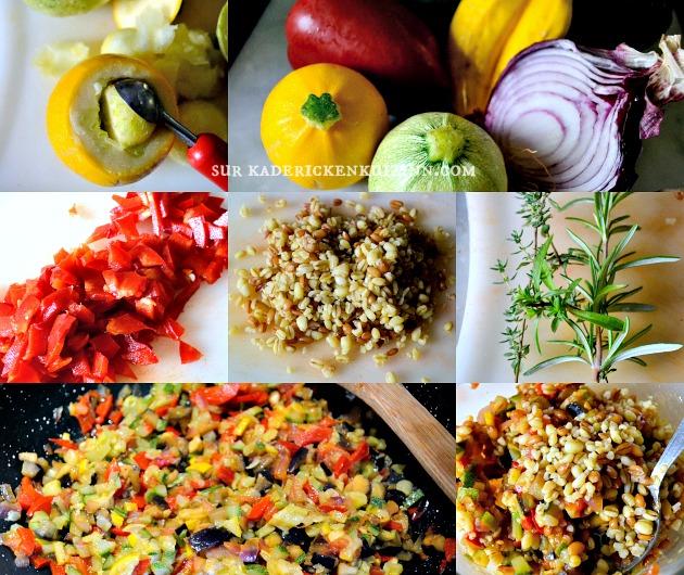 Courgettes tomates - Légumes bio farcis ratatouille et trio de céréales