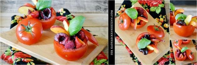 Tomates farcies - Entrée sucré-salé de tomates farcies aux fruits d'été Culino Versions