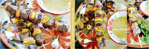 Brochettes boeuf - Plancha de boeuf sauce finadene citron, oignon violet et moutarde