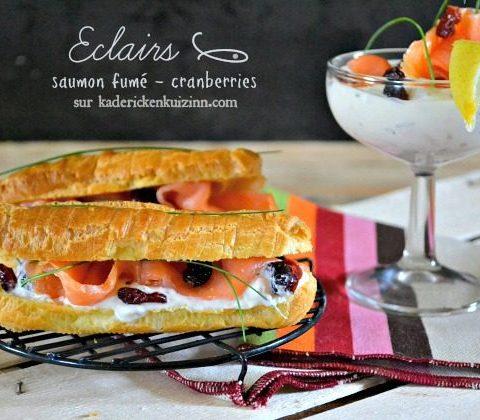 Recette choux - Éclair sucré-salé saumon fumé et cranberries