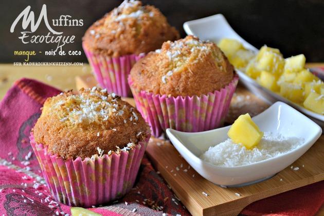 Muffins exotique - Recette muffins à la mangue et noix de coco