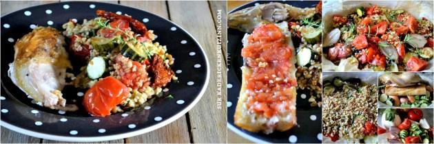 Poulet roti - Recette poulet aux légumes d'été rôtis et trio de céréales bio