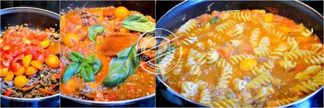 One pan pasta - Pâtes fusilloni à la bolognaise chorizo et légumes bio