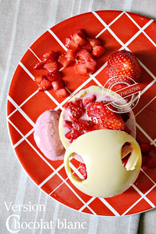 Coque chocolat - Sphère chocolat noir ou chocolat blanc aux fraises bio