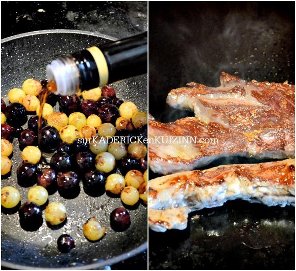Plancha veau - Onglet de veau grillé vendangeur aux raisins, miel et xérès