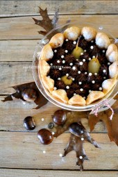 Dégustation charlotte poires ganache chocolat crème marron