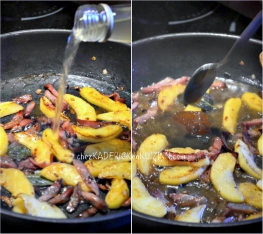Cuisson onglet veau pommes sauce au jus de pomme et miel