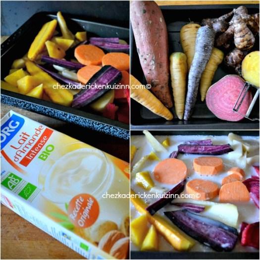 Legumes anciens - Recette de légumes rôtis au lait d'amande chez Kaderick