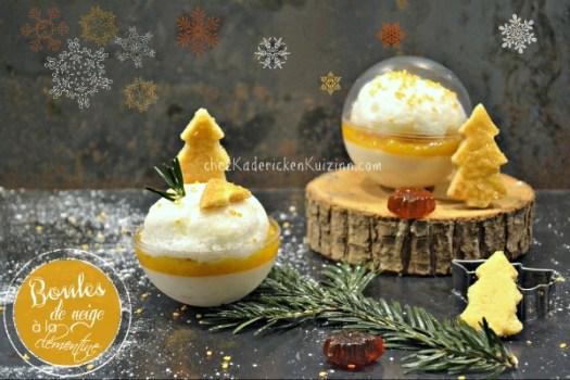 Boule neige - Panna cotta clémentine oeuf à la neige|Kaderick
