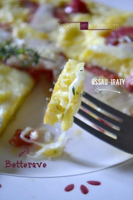 Recette omelette - Omelette betterave rouge au fromage et sarriette - Kaderick en Kuizinn