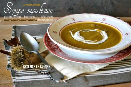 Soupe moulinee potimarron, butternut et pâtisson - Kaderick