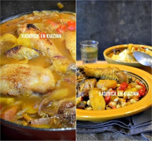 Présentation cuisses poulet - Tajine poulet carottes et pâtisson - Kaderick en Kuizinn