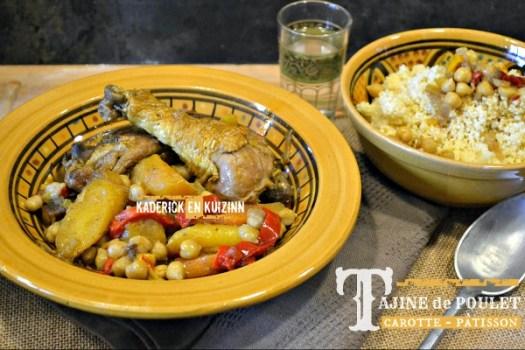 Recette cuisses poulet - Tajine poulet carottes et pâtisson - Kaderick