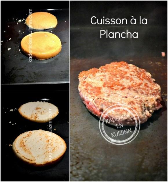 Cuisson hamburger bistrot - Recette plancha boeuf pomme paille chez Kaderick en Kuizinn