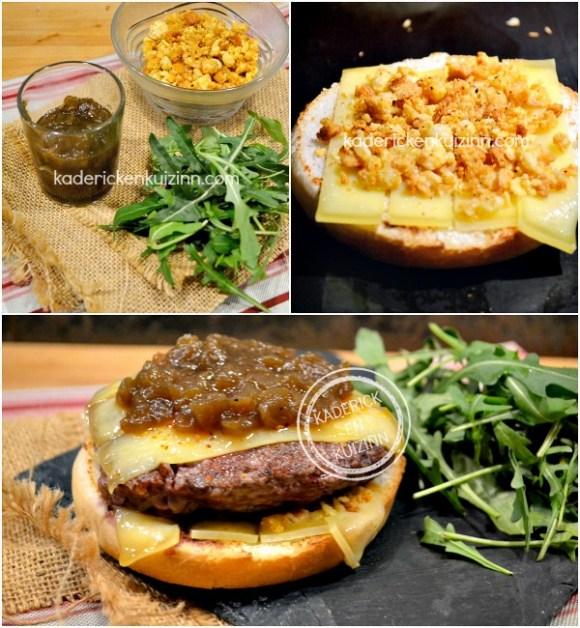 Présentation hamburger bistrot - Recette plancha boeuf pomme paille chez Kaderick en Kuizinn