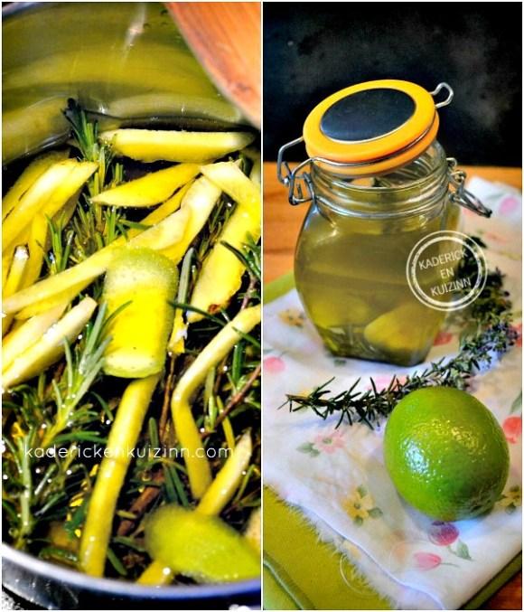 Préparation Huile aromatisee agrume pour marinade à la plancha chez Kaderick en Kuizinn©
