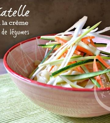 Recette tagliatelle creme fraiche julienne de légumes crus chez Kaderick en Kuizinn©