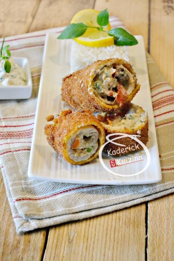 Dégustation sole filet - Cromesquis filet sole roulé et farci ricotta chez Kaderick en Kuizinn