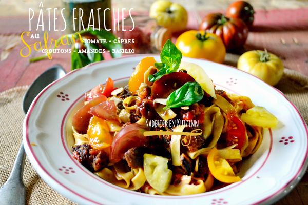 recette pates fraiches safran tomate capres basilic kaderick. Black Bedroom Furniture Sets. Home Design Ideas