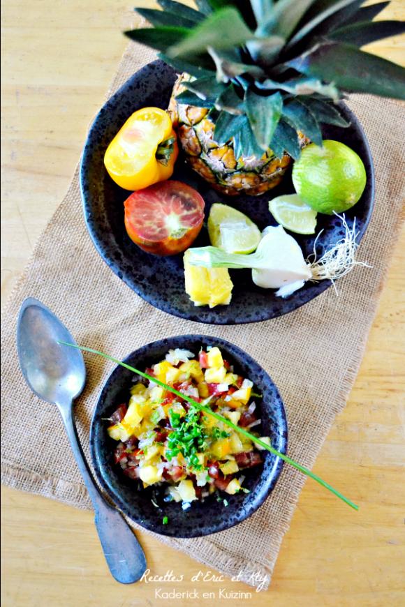 Présentation salsa recette - Salsa d'ananas pour poisson ou viande à la plancha chez Kaderick en Kuizinn