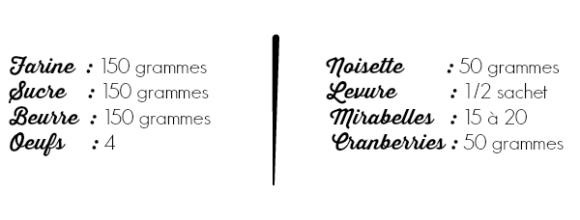 Liste des ingredients madeleines mirabelles