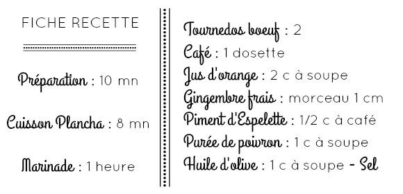Fiche recette ingrédients tournedos café orange gingembre piment poivron