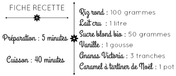 Fiche recette riz lait cru ananas et caramel de Noël