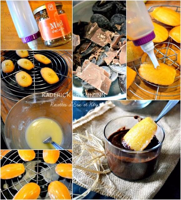Préparation pâte madeleines glacées au citron et sauce chocolat