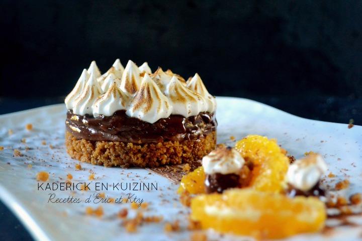 Recette cheesecake sans cuisson pain d'épices chocolat meringuée à l'orange