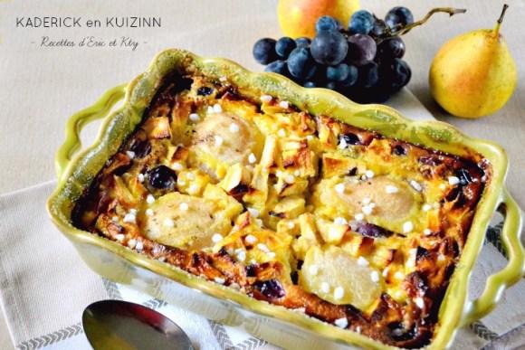 Recette clafoutis aux pommes poires et raisins
