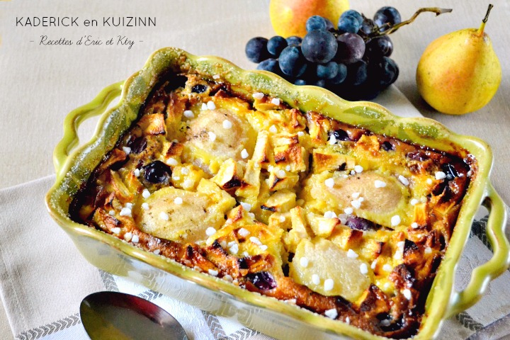 Recette clafoutis gourmand pommes poires raisins